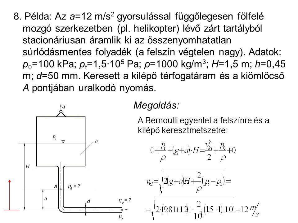 8. Példa: Az a=12 m/s2 gyorsulással függőlegesen fölfelé mozgó szerkezetben (pl. helikopter) lévő zárt tartályból stacionáriusan áramlik ki az összenyomhatatlan súrlódásmentes folyadék (a felszín végtelen nagy). Adatok: p0=100 kPa; pt=1,5·105 Pa; ρ=1000 kg/m3; H=1,5 m; h=0,45 m; d=50 mm. Keresett a kilépő térfogatáram és a kiömlőcső A pontjában uralkodó nyomás.