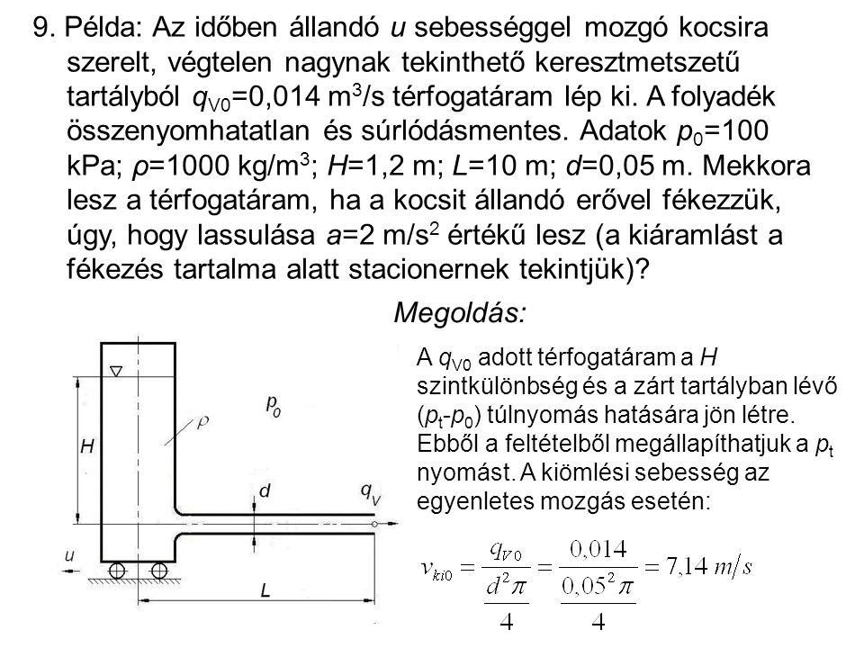 9. Példa: Az időben állandó u sebességgel mozgó kocsira szerelt, végtelen nagynak tekinthető keresztmetszetű tartályból qV0=0,014 m3/s térfogatáram lép ki. A folyadék összenyomhatatlan és súrlódásmentes. Adatok p0=100 kPa; ρ=1000 kg/m3; H=1,2 m; L=10 m; d=0,05 m. Mekkora lesz a térfogatáram, ha a kocsit állandó erővel fékezzük, úgy, hogy lassulása a=2 m/s2 értékű lesz (a kiáramlást a fékezés tartalma alatt stacionernek tekintjük)