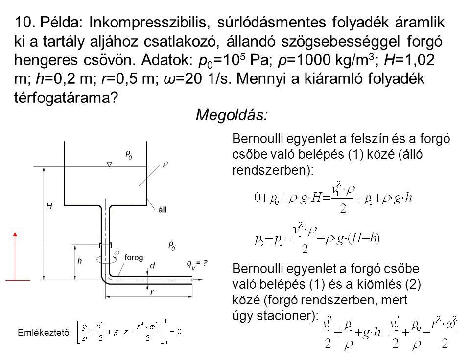 10. Példa: Inkompresszibilis, súrlódásmentes folyadék áramlik ki a tartály aljához csatlakozó, állandó szögsebességgel forgó hengeres csövön. Adatok: p0=105 Pa; ρ=1000 kg/m3; H=1,02 m; h=0,2 m; r=0,5 m; ω=20 1/s. Mennyi a kiáramló folyadék térfogatárama