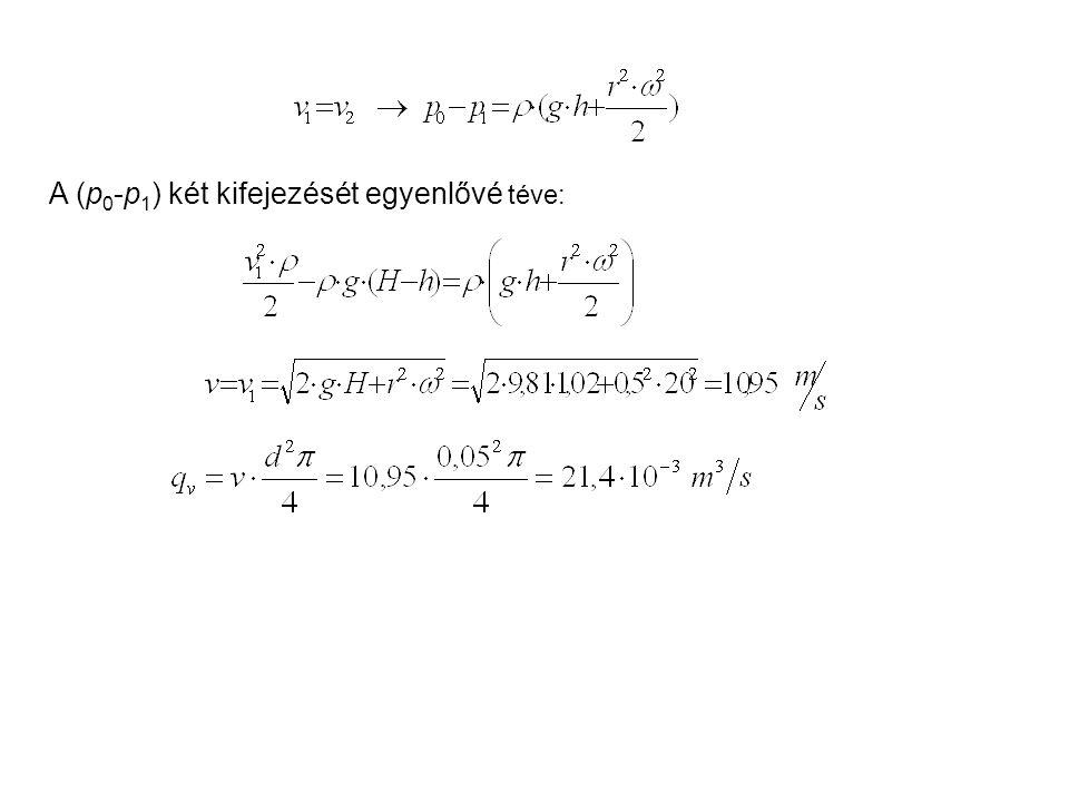 A (p0-p1) két kifejezését egyenlővé téve:
