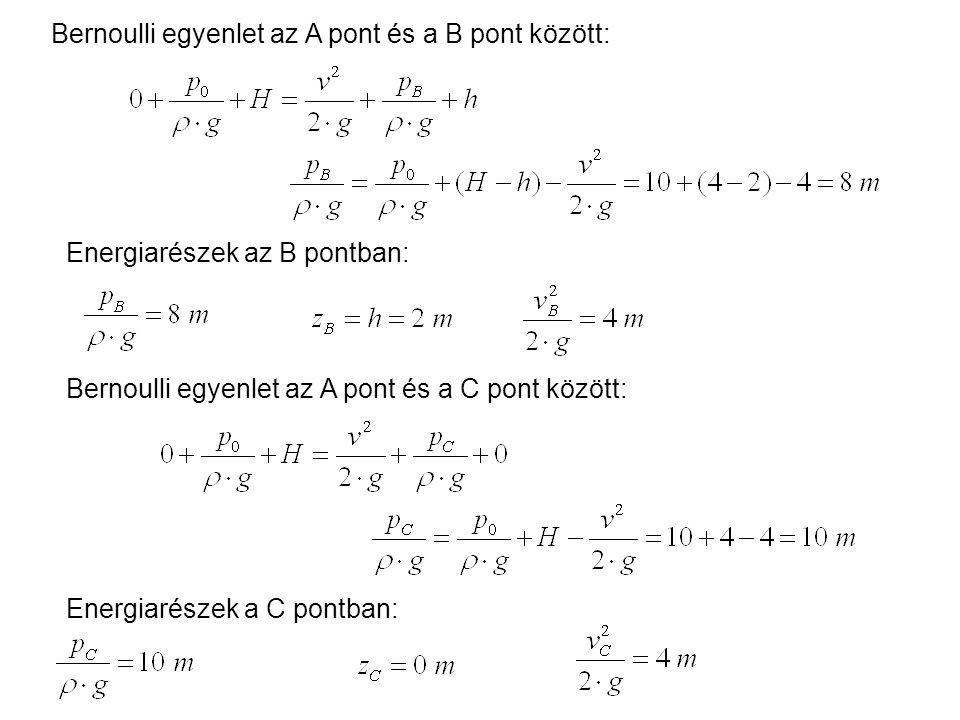 Bernoulli egyenlet az A pont és a B pont között: