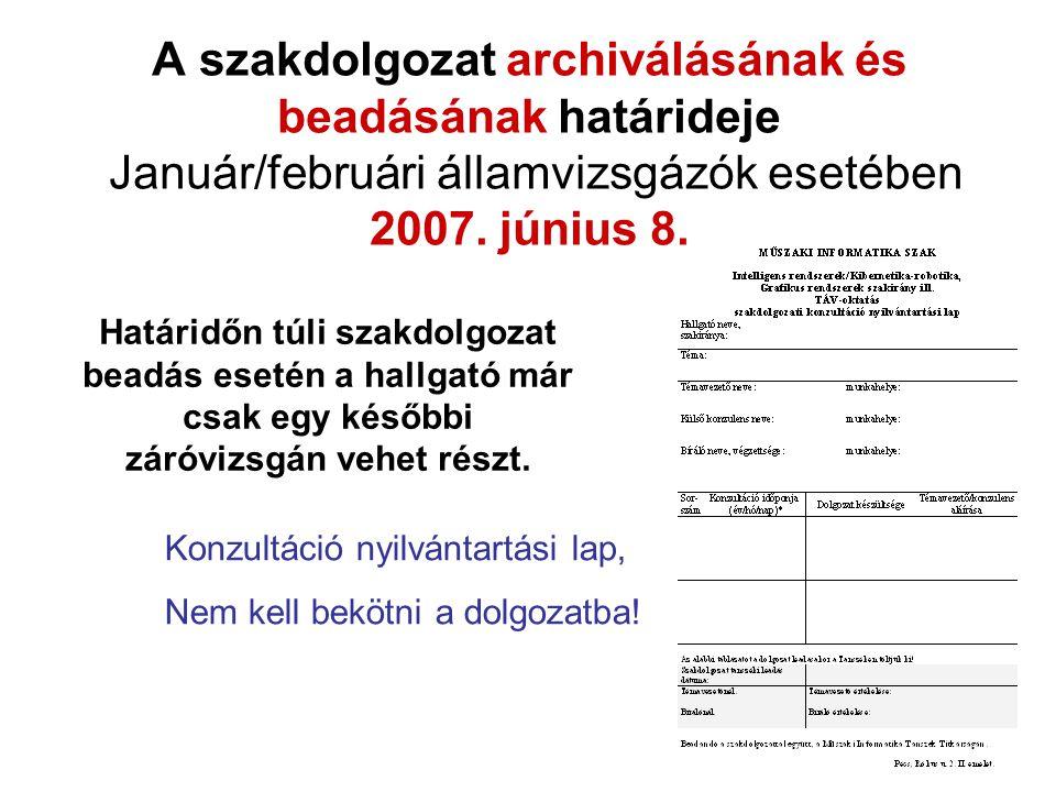 A szakdolgozat archiválásának és beadásának határideje Január/februári államvizsgázók esetében 2007. június 8.