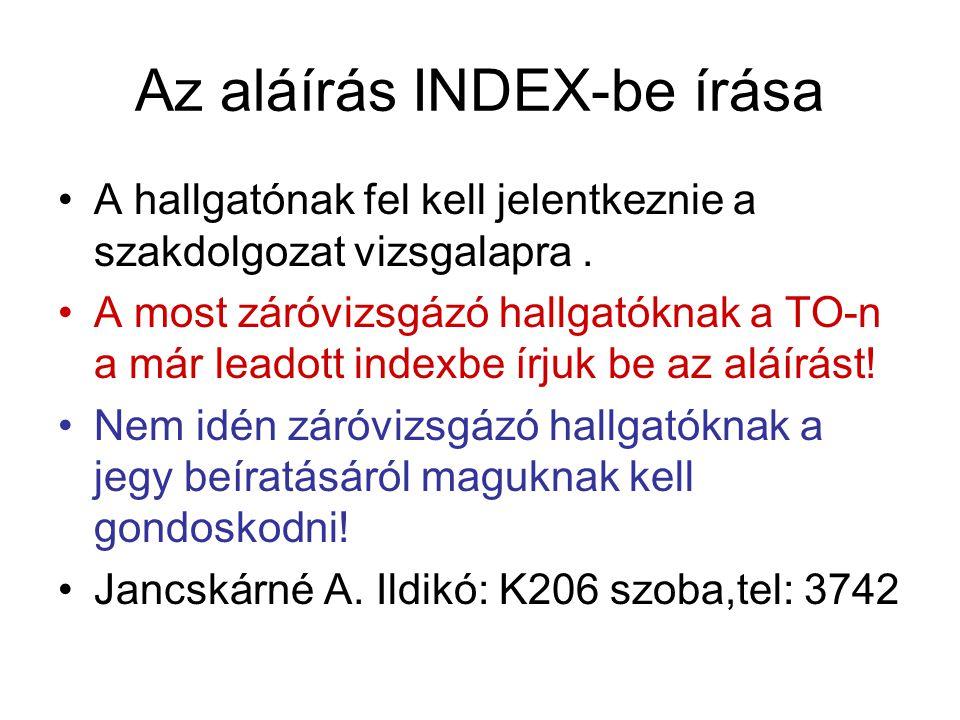 Az aláírás INDEX-be írása