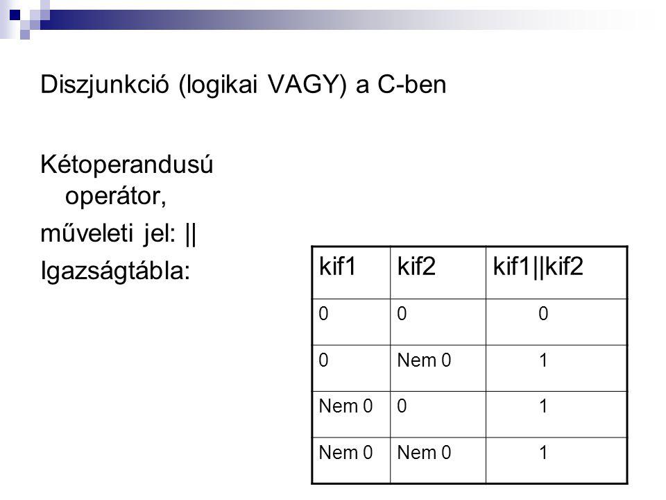 Diszjunkció (logikai VAGY) a C-ben