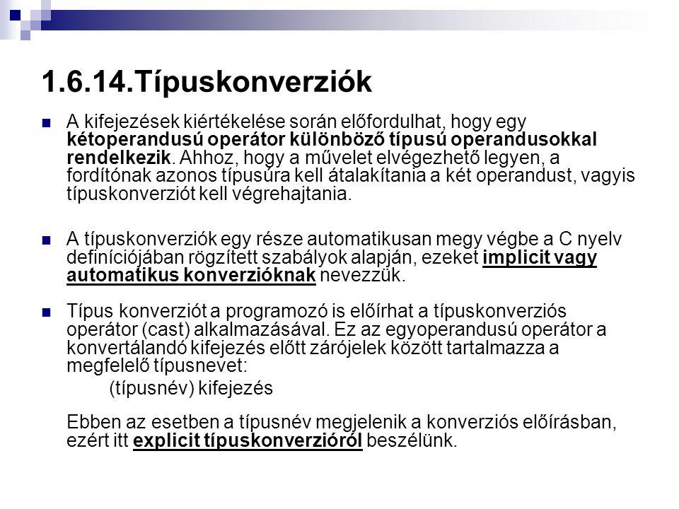 1.6.14.Típuskonverziók