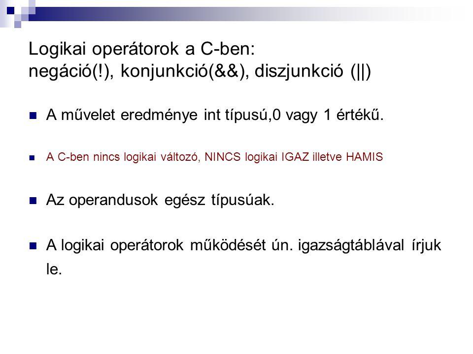 Logikai operátorok a C-ben: negáció(