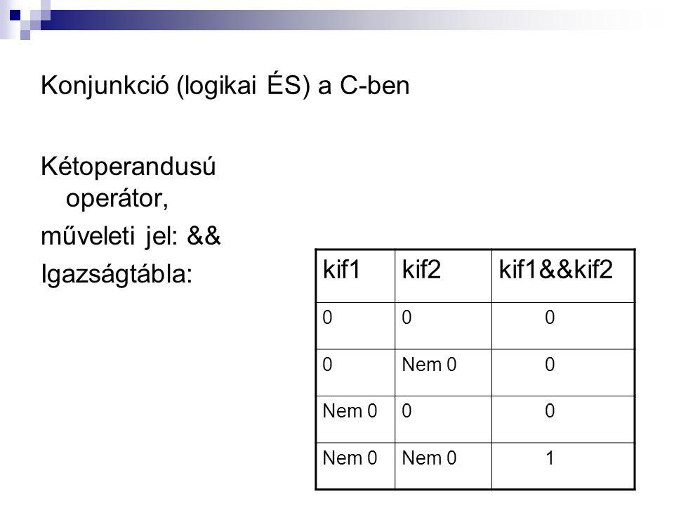 Konjunkció (logikai ÉS) a C-ben