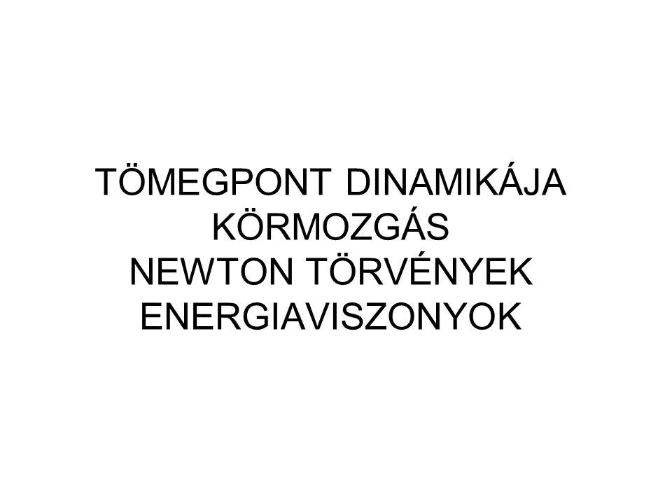 TÖMEGPONT DINAMIKÁJA KÖRMOZGÁS NEWTON TÖRVÉNYEK ENERGIAVISZONYOK