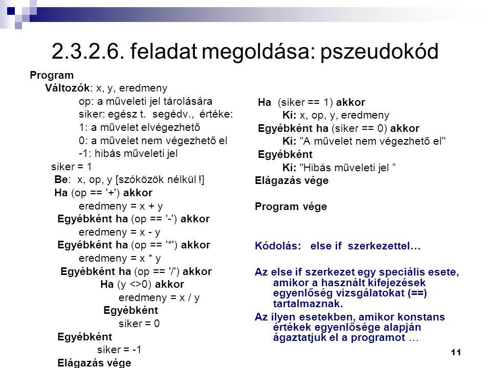 2.3.2.6. feladat megoldása: pszeudokód