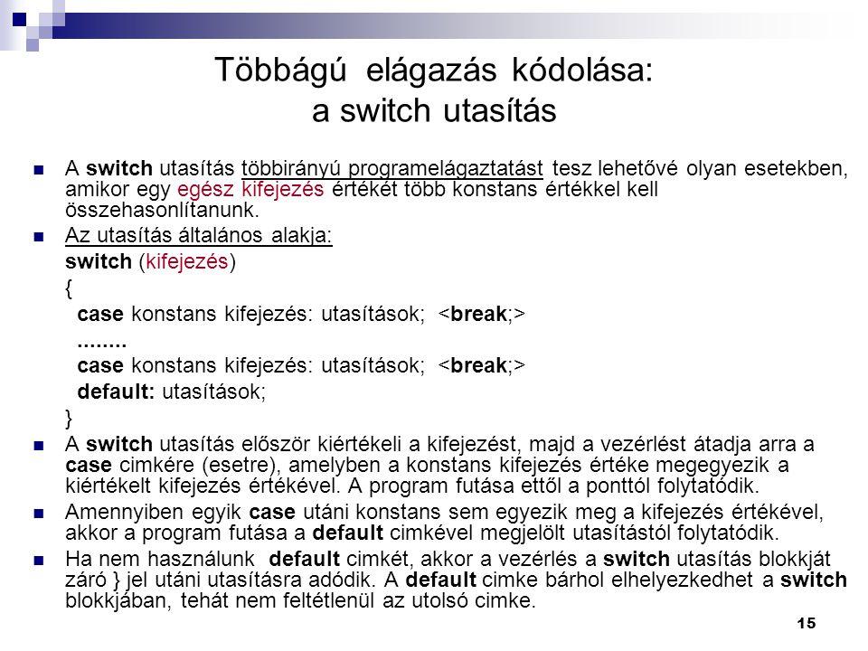 Többágú elágazás kódolása: a switch utasítás