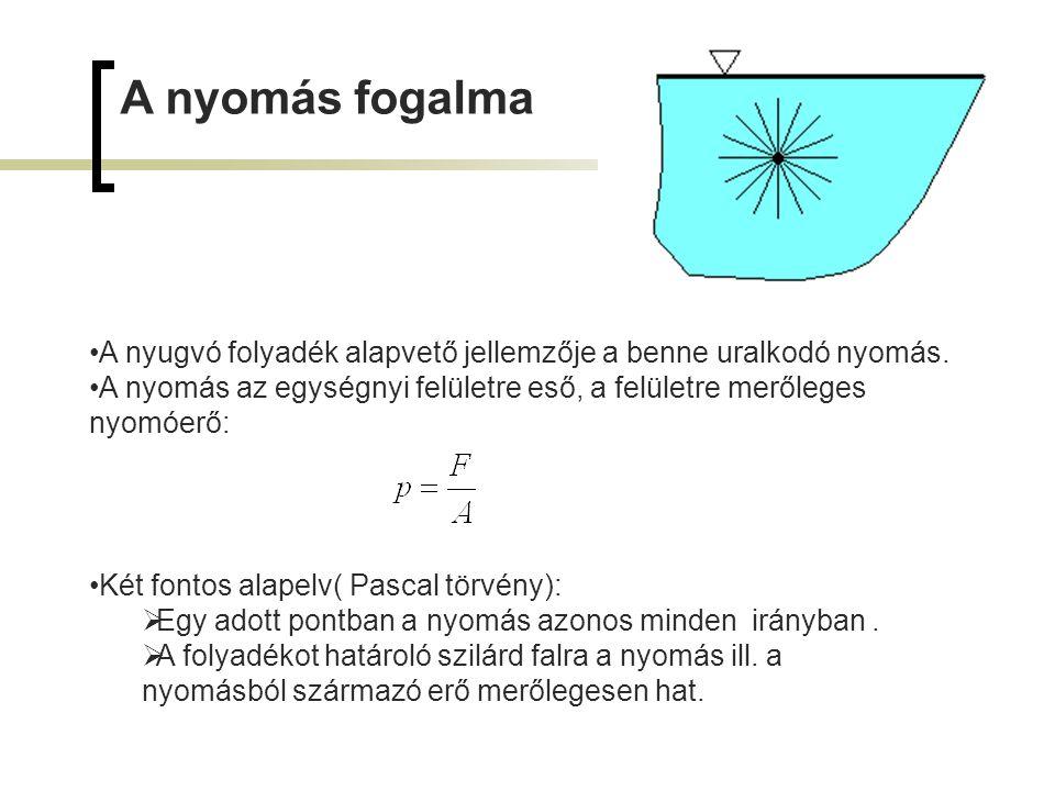 A nyomás fogalma A nyugvó folyadék alapvető jellemzője a benne uralkodó nyomás. A nyomás az egységnyi felületre eső, a felületre merőleges nyomóerő: