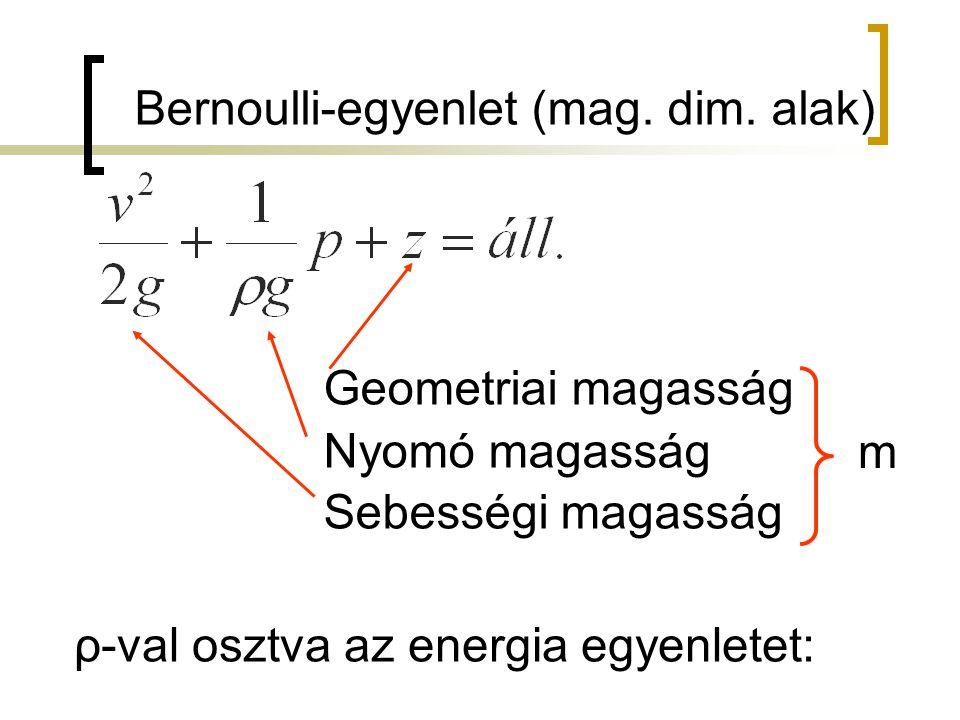 Bernoulli-egyenlet (mag. dim. alak)