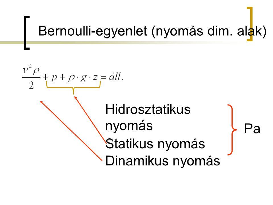 Bernoulli-egyenlet (nyomás dim. alak)