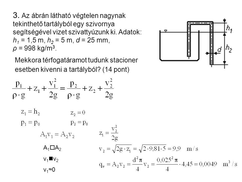 3. Az ábrán látható végtelen nagynak tekinthető tartályból egy szivornya segítségével vizet szivattyúzunk ki. Adatok: h1 = 1,5 m, h2 = 5 m, d = 25 mm, ρ = 998 kg/m3.