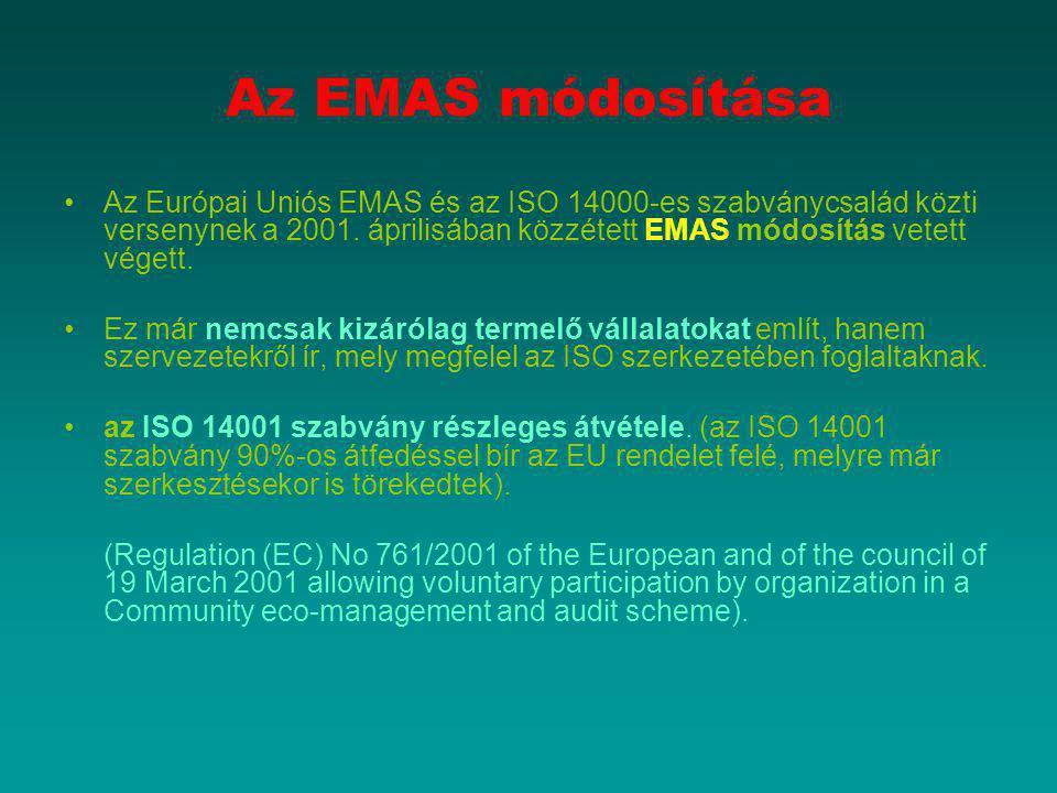 Az EMAS módosítása