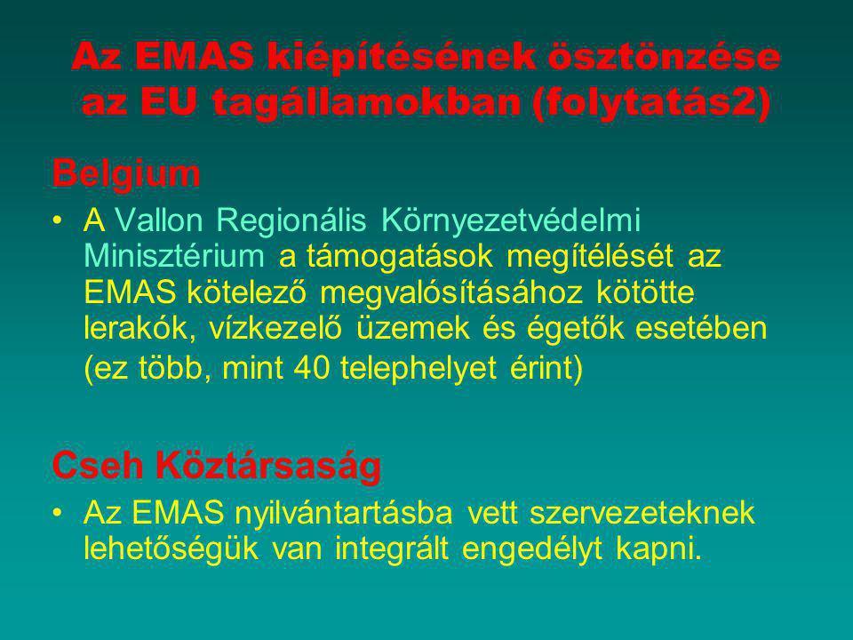 Az EMAS kiépítésének ösztönzése az EU tagállamokban (folytatás2)