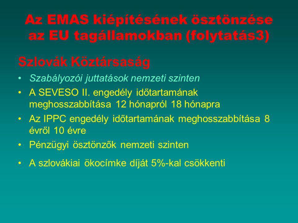 Az EMAS kiépítésének ösztönzése az EU tagállamokban (folytatás3)