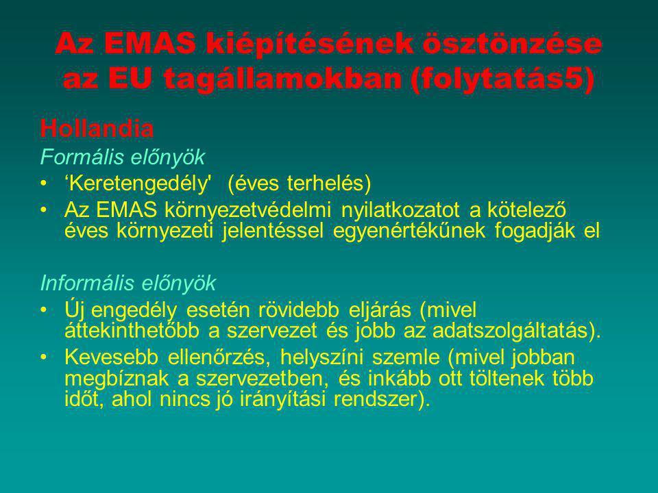 Az EMAS kiépítésének ösztönzése az EU tagállamokban (folytatás5)