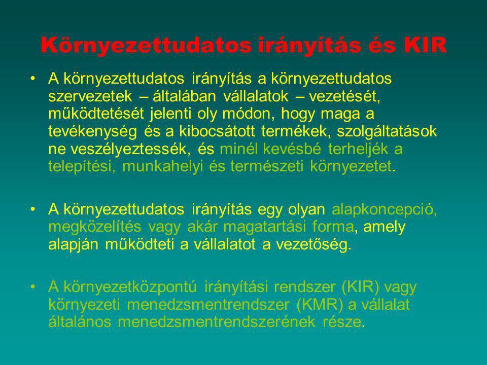Környezettudatos irányítás és KIR