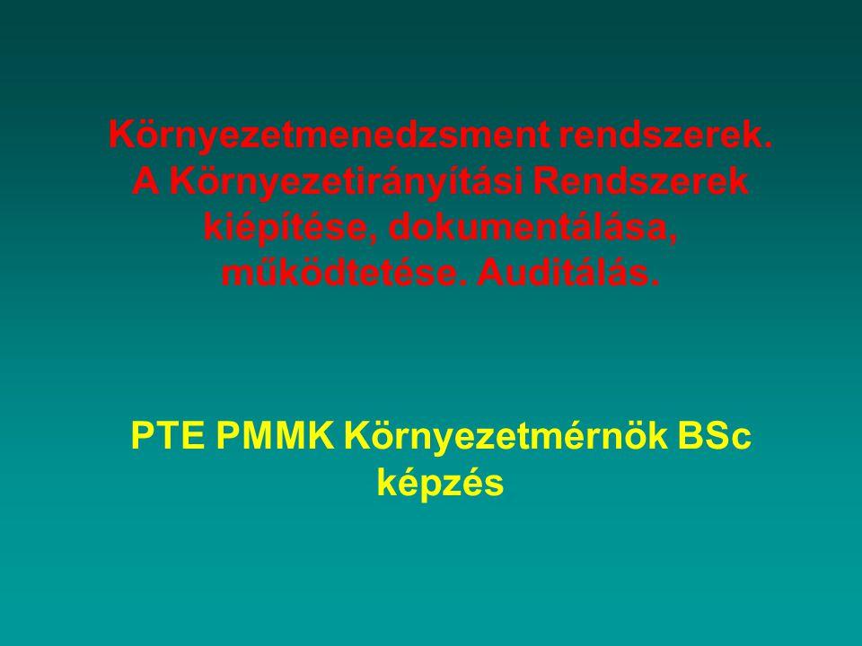 Környezetmenedzsment rendszerek. PTE PMMK Környezetmérnök BSc képzés