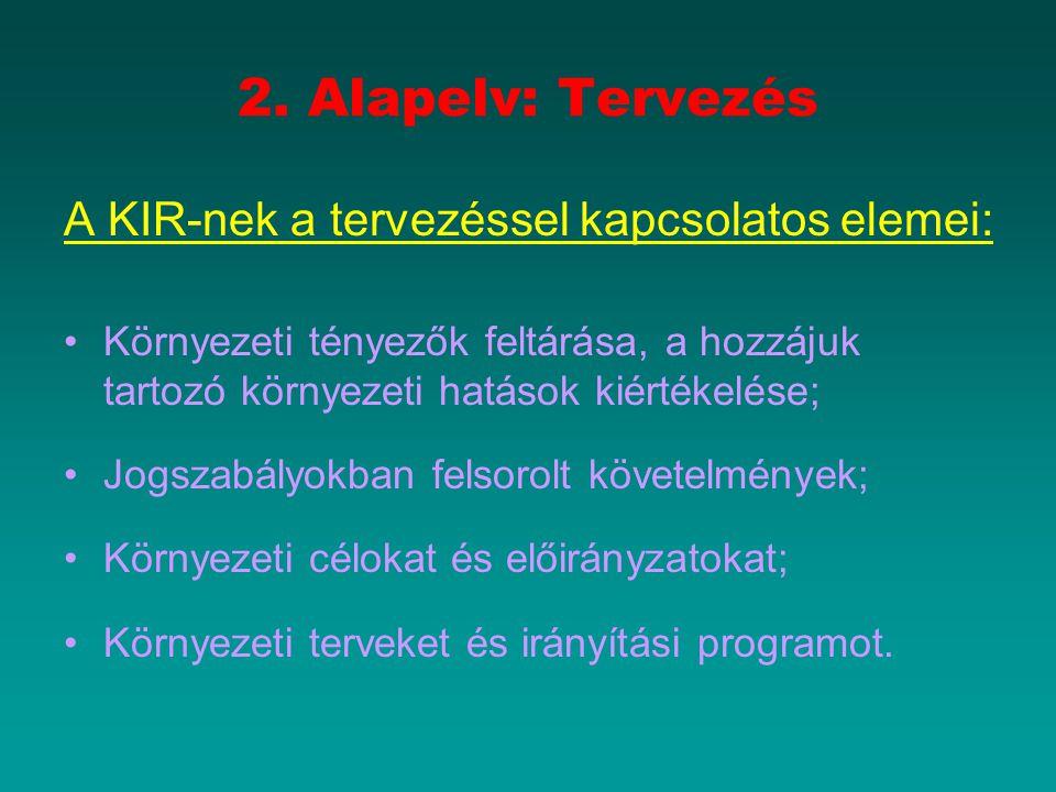 2. Alapelv: Tervezés A KIR-nek a tervezéssel kapcsolatos elemei: