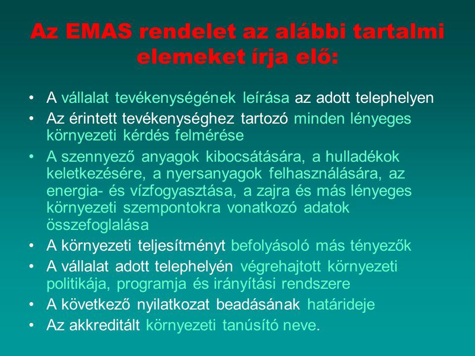 Az EMAS rendelet az alábbi tartalmi elemeket írja elő: