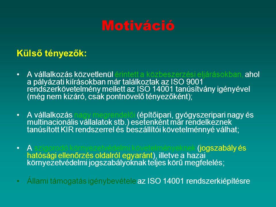 Motiváció Külső tényezők: