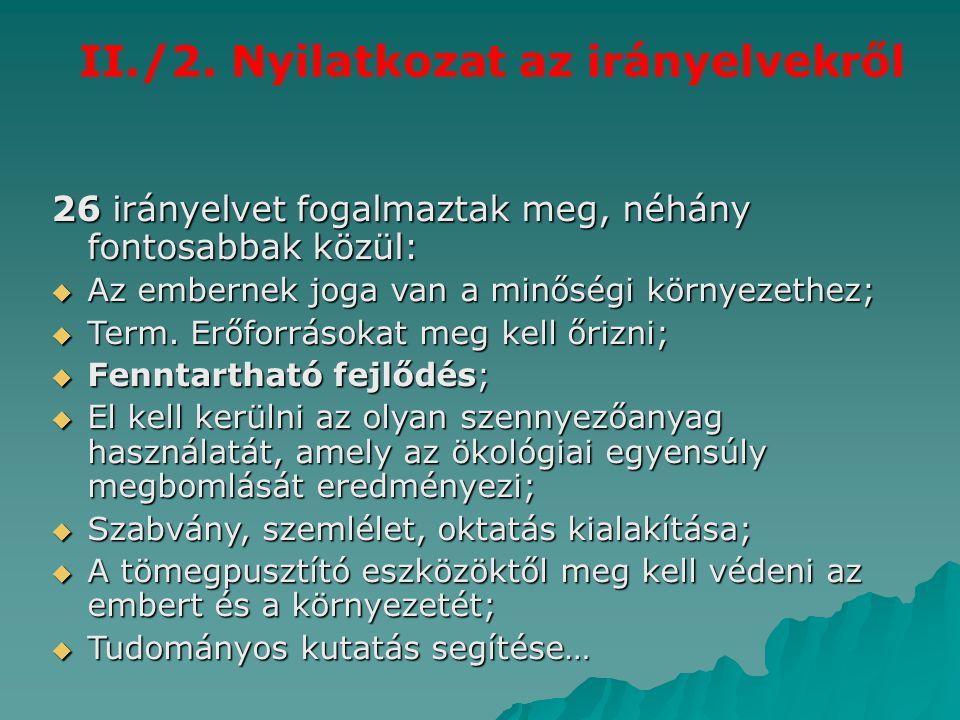 II./2. Nyilatkozat az irányelvekről