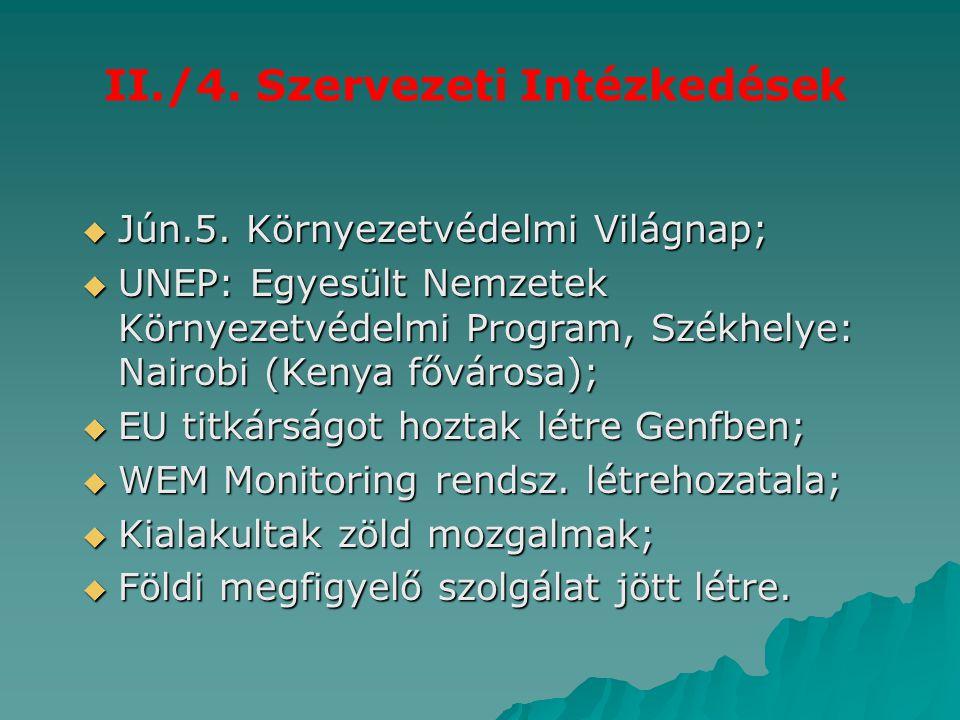 II./4. Szervezeti Intézkedések