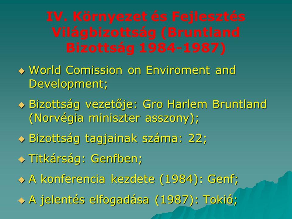 IV. Környezet és Fejlesztés Világbizottság (Bruntland Bizottság 1984-1987)