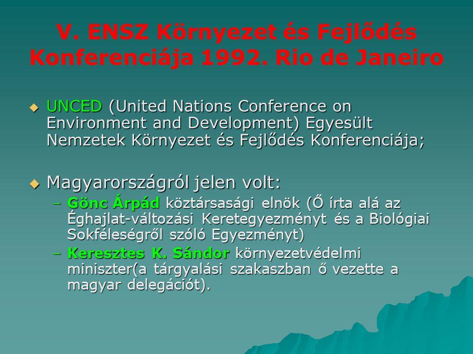 V. ENSZ Környezet és Fejlődés Konferenciája 1992. Rio de Janeiro
