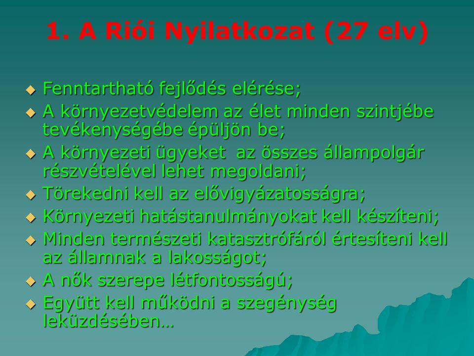 1. A Riói Nyilatkozat (27 elv)