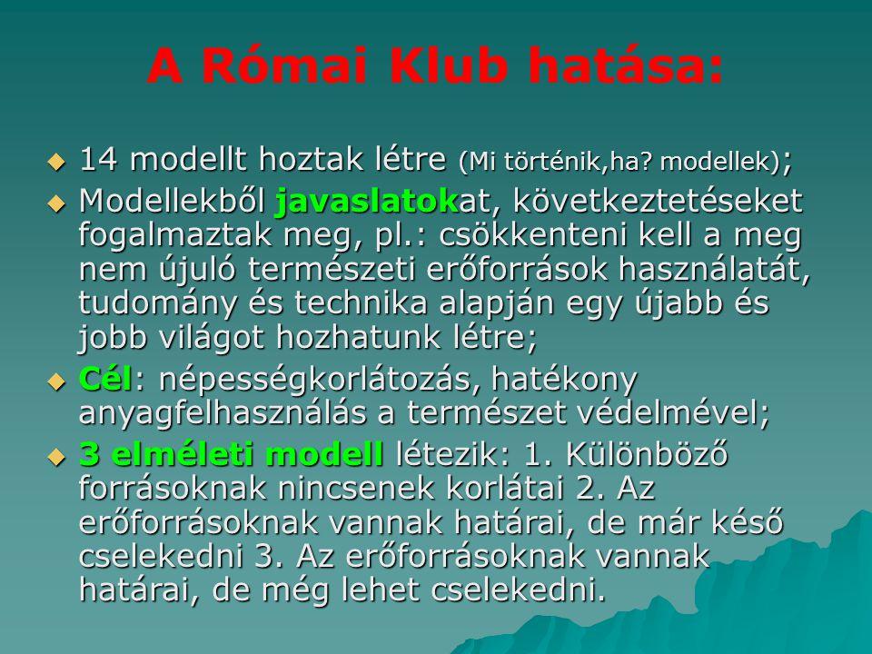 A Római Klub hatása: 14 modellt hoztak létre (Mi történik,ha modellek);