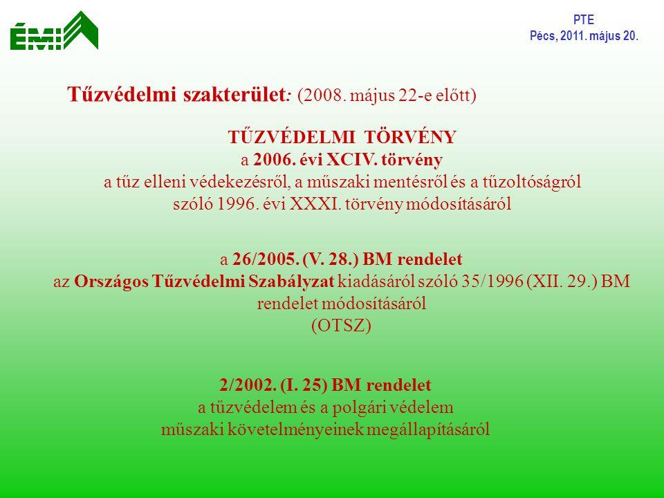 Tűzvédelmi szakterület: (2008. május 22-e előtt)
