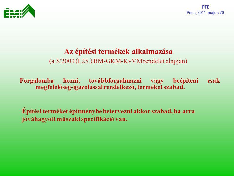 PTE Pécs, 2011. május 20. Az építési termékek alkalmazása (a 3/2003 (I.25.) BM-GKM-KvVM rendelet alapján)