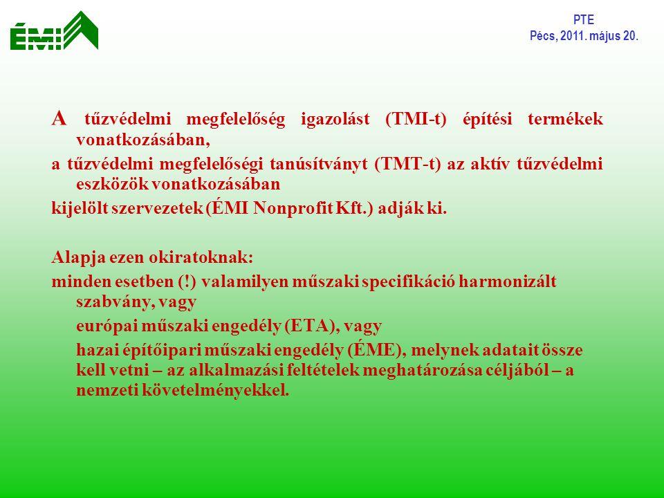 PTE Pécs, 2011. május 20. A tűzvédelmi megfelelőség igazolást (TMI-t) építési termékek vonatkozásában,
