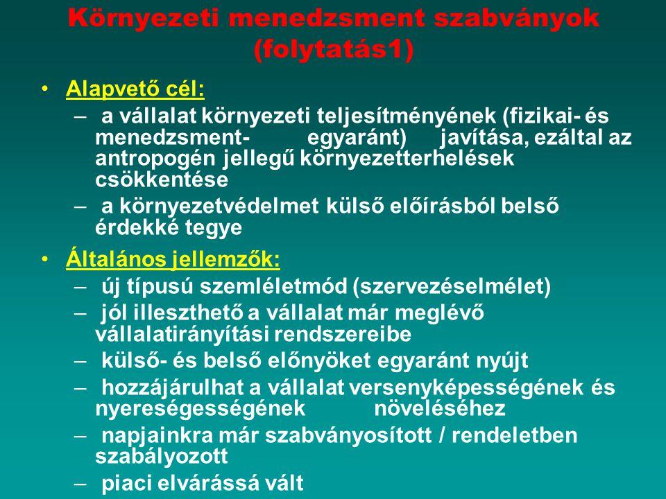 Környezeti menedzsment szabványok (folytatás1)