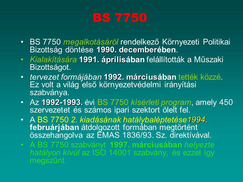 BS 7750 BS 7750 megalkotásáról rendelkező Környezeti Politikai Bizottság döntése 1990. decemberében.