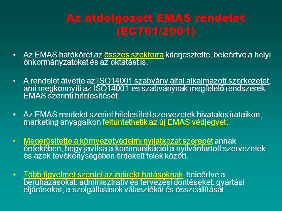 Az átdolgozott EMAS rendelet (EC761/2001)