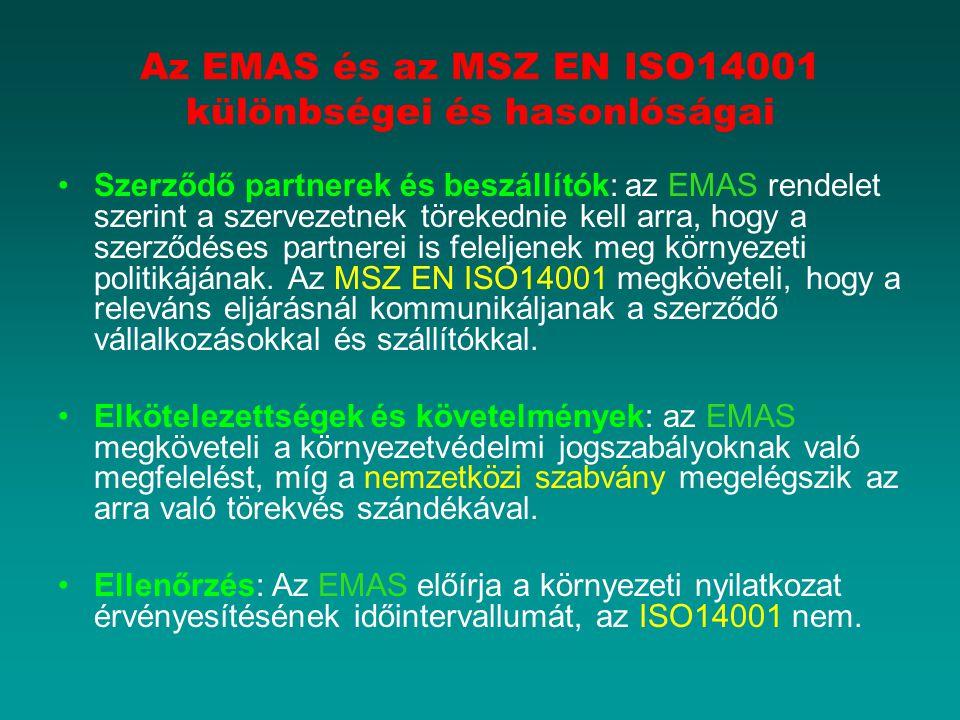 Az EMAS és az MSZ EN ISO14001 különbségei és hasonlóságai