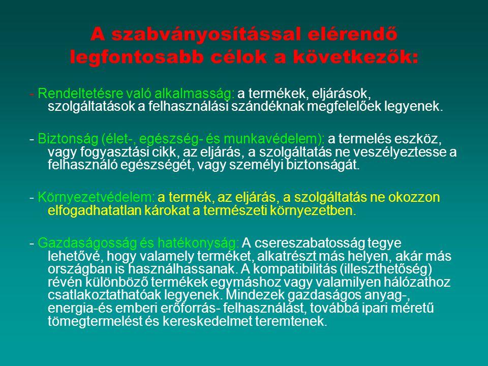 A szabványosítással elérendő legfontosabb célok a következők:
