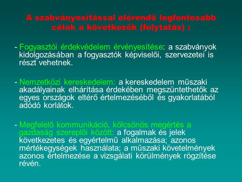 A szabványosítással elérendő legfontosabb célok a következők (folytatás) :