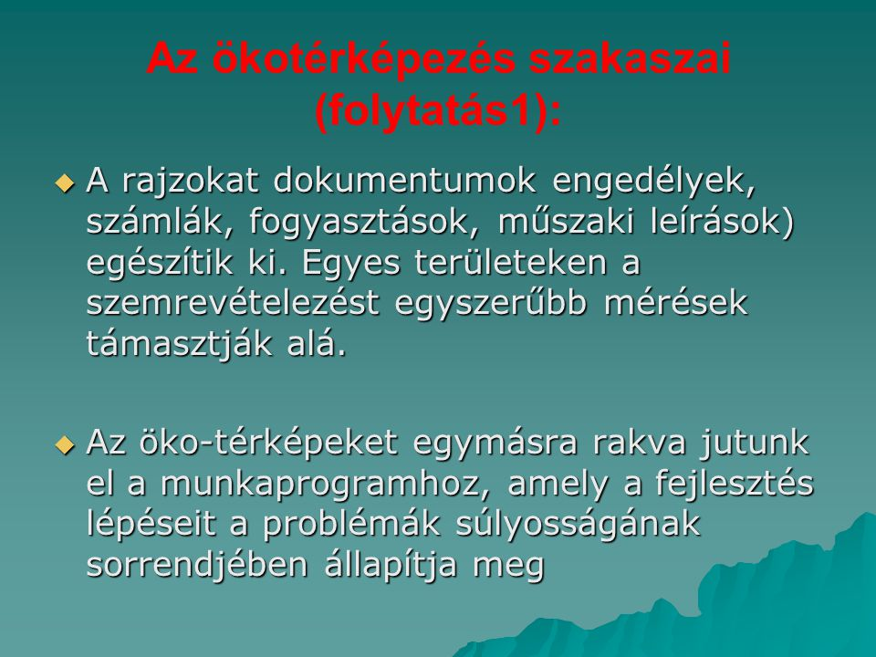 Az ökotérképezés szakaszai (folytatás1):