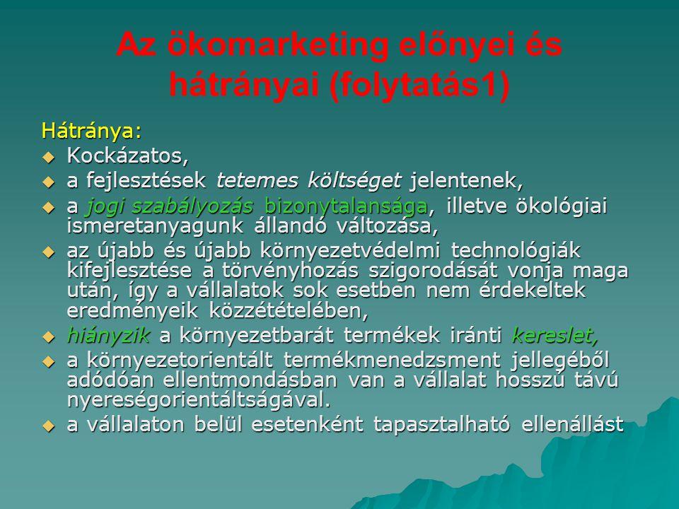 Az ökomarketing előnyei és hátrányai (folytatás1)