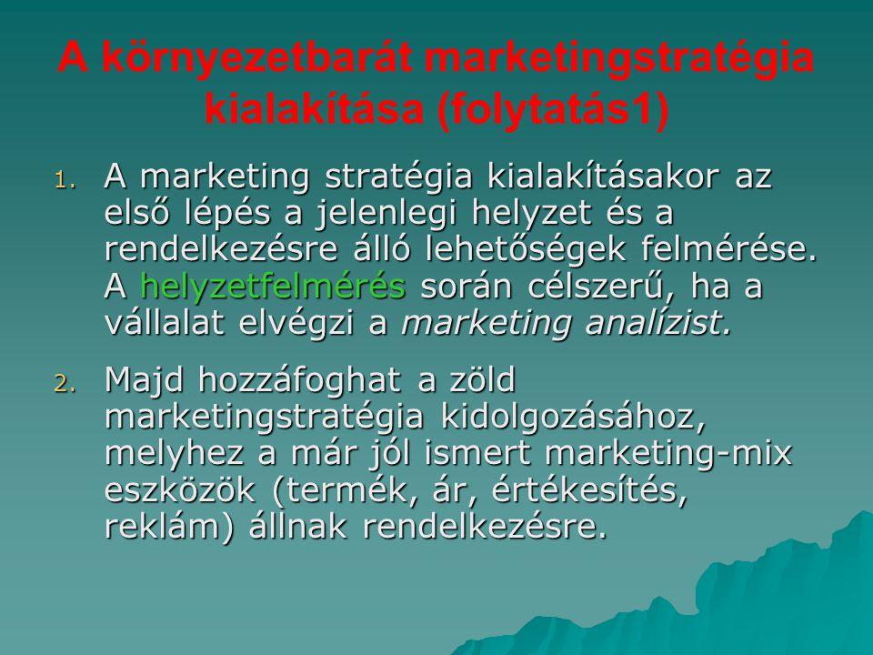 A környezetbarát marketingstratégia kialakítása (folytatás1)