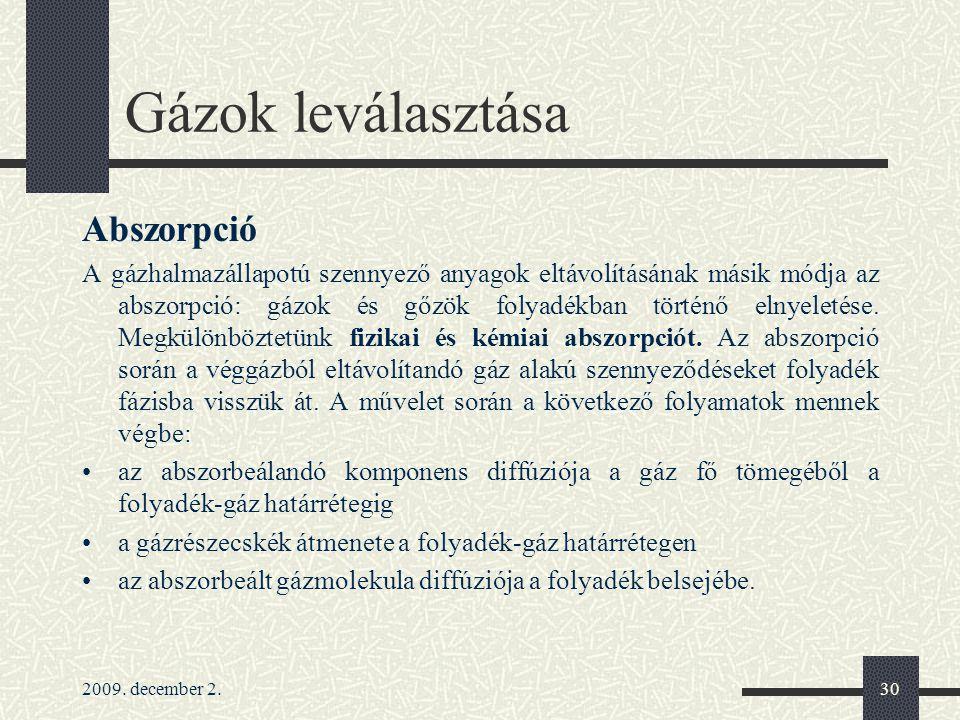Gázok leválasztása Abszorpció