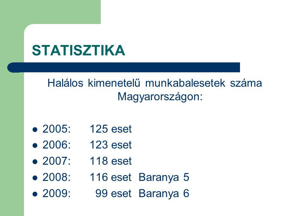 Halálos kimenetelű munkabalesetek száma Magyarországon: