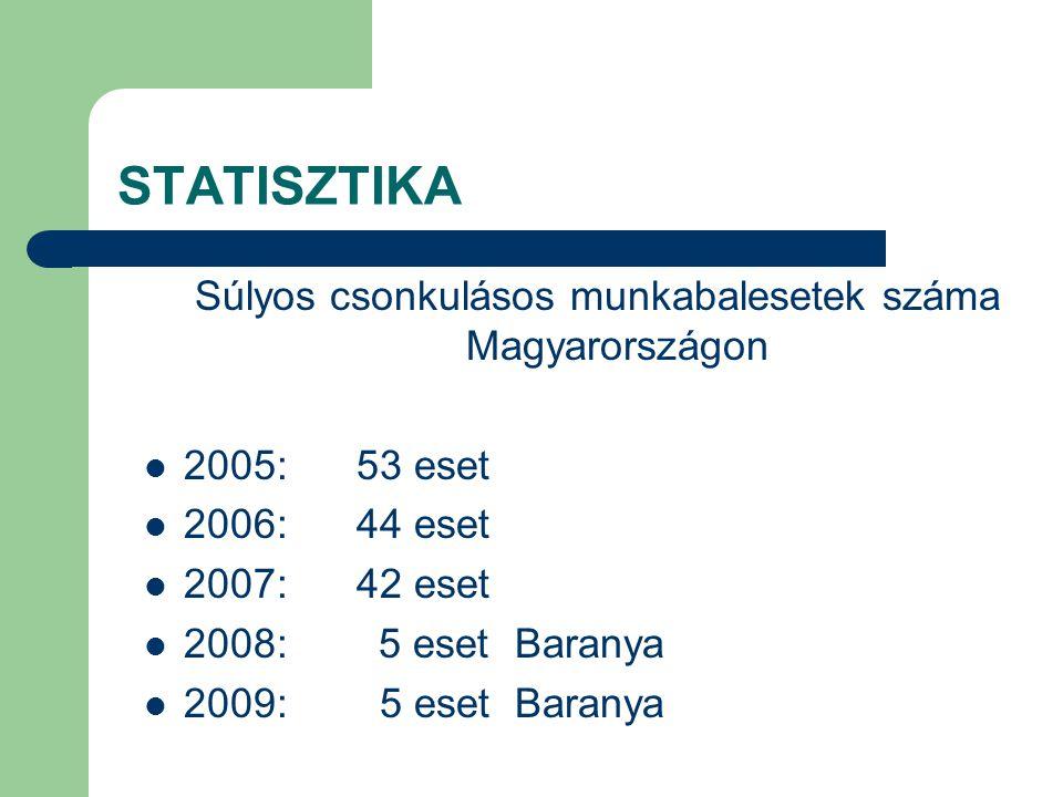 Súlyos csonkulásos munkabalesetek száma Magyarországon
