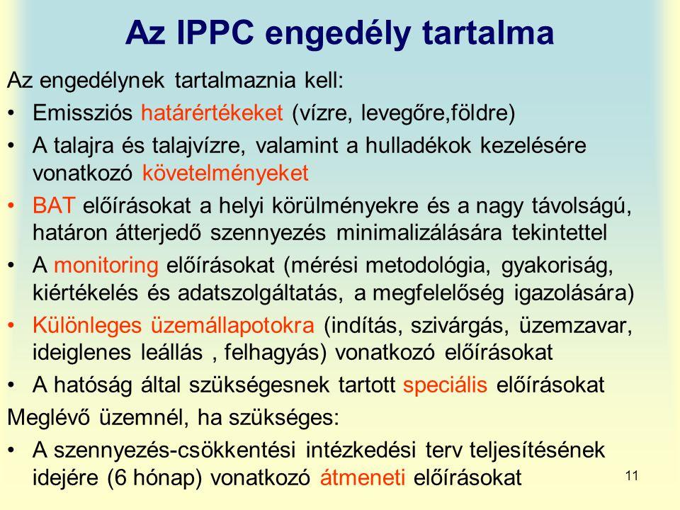 Az IPPC engedély tartalma