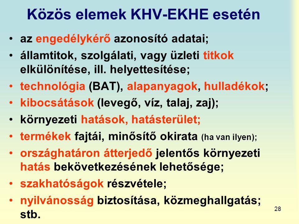 Közös elemek KHV-EKHE esetén